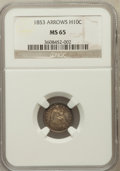 Seated Half Dimes: , 1853 H10C Arrows MS65 NGC. NGC Census: (77/58). PCGS Population(54/39). Mintage: 13,210,020. Numismedia Wsl. Price for pro...