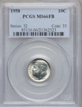 Roosevelt Dimes: , 1958 10C MS66 Full Bands PCGS. PCGS Population (38/2). NGC Census:(24/8). Mintage: 31,100,000. Numismedia Wsl. Price for p...