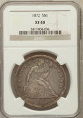 Seated Dollars: , 1872 $1 XF40 NGC. NGC Census: (39/299). PCGS Population (72/359).Mintage: 1,106,450. Numismedia Wsl. Price for problem fre...