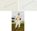 Autographs:Index Cards, 1960's Mickey Mantle Signed Index Cards Lot of 2....