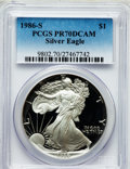 Modern Bullion Coins, 1986-S $1 One Ounce Silver Eagle PR70 Deep Cameo PCGS. PCGSPopulation (709). NGC Census: (1134). Mintage: 1,446,778. Numis...