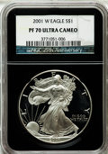 2001-W $1 One-Ounce Silver Eagle PR70 Ultra Cameo NGC. 25th Anniversary Holder. NGC Census: (3525). PCGS Population (101...