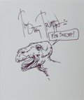 "Art:Illustration Art - Mainstream, Timothy Truman, comic book illustrator. Original Ink Drawing of aDinosaur Signed and Inscribed ""Fer Scott."" Measures 5 x 6 ..."