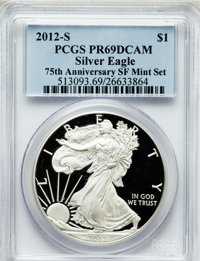 2012-S $1 One-Ounce Silver Eagle, 75th Anniversary San Francisco Mint Set PR69 Deep Cameo PCGS. PCGS Population (1341/95...