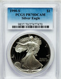 Modern Bullion Coins, 1990-S $1 One-Ounce Silver Eagle PR70 Deep Cameo PCGS. PCGSPopulation (1101). NGC Census: (1135). Mintage: 695,510. Numism...