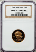 Modern Issues, 1988-W G$5 Olympic Gold Five Dollar PR69 Ultra Cameo NGC. NGCCensus: (5829/3511). PCGS Population (8548/437). Mintage: 281...