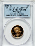 Modern Issues, 1988-W G$5 Olympic Gold Five Dollar PR69 Deep Cameo PCGS. Ex: U.S.Vault Collection. PCGS Population (8548/437). NGC Censu...
