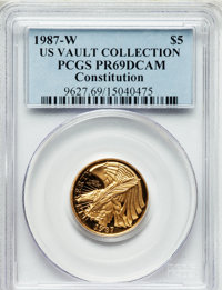 1987-W G$5 Constitution Gold Five Dollar PR69 Deep Cameo PCGS. Ex: U.S. Vault Collection. PCGS Population (14642/1861)...