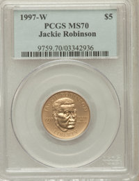 1997-W G$5 Jackie Robinson Gold Five Dollar MS70 PCGS. PCGS Population (47). NGC Census: (228). Mintage: 5,202. Numismed...