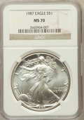 Modern Bullion Coins, 1987 $1 One-Ounce Silver Eagle MS70 NGC. NGC Census: (347). PCGSPopulation (10). Mintage: 11,442,335. Numismedia Wsl. Pric...