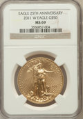 Modern Bullion Coins, 2011-W G$50 One Ounce 25th Anniversary MS69 NGC. NGC Census:(368/2276). PCGS Population (844/203)....