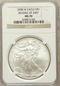 Modern Bullion Coins, 2008-W $1 One-Ounce Silver Eagle, Reverse of 2007 MS70 NGC. NGCCensus: (4272). PCGS Population (234). Numismedia Wsl. Pri...