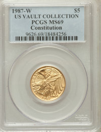 1987-W G$5 Constitution Gold Five Dollar MS69 PCGS. Ex: U.S. Vault Collection. PCGS Population (6480/1219). NGC Census:...