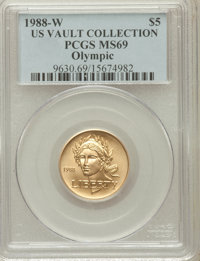1988-W G$5 Olympic Gold Five Dollar MS69 PCGS. Ex: U.S. Vault Collection. PCGS Population (2758/239). NGC Census: (1093/...