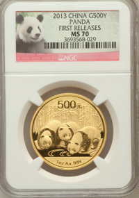 2013 China Panda Gold 500 Yuan (1 oz), First Releases MS70 NGC. NGC Census: (0). PCGS Population (153)