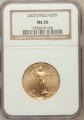 Modern Bullion Coins, 2003 G$25 Half-Ounce Gold Eagle MS70 NGC. NGC Census: (1783). PCGSPopulation (374). Numismedia Wsl. Price for problem fre...