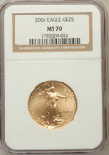 Modern Bullion Coins, 2004 G$25 Half-Ounce Gold Eagle MS70 NGC. NGC Census: (2619). PCGSPopulation (873). Numismedia Wsl. Price for problem fre...