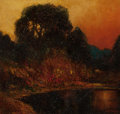American:Western, WILL SPARKS (American, 1862-1937). Sunset, Russian River. Oil on panel. 8-3/4 x 9-1/2 inches (22.2 x 24.1 cm). Signed lo...
