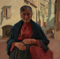 Paintings, E. MARTIN HENNINGS (American, 1886-1956). Hands of Toil, Chioggia, Italy, 1927. Oil on canvas laid on board. 30 x 30 inc...