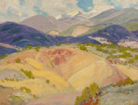 ORIN SHELDON PARSONS (American, 1866-1943) Taos Mountain Landscape Oil on board 9-1/4 x 12 inches