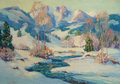 American, FRANK JOSEPH VAVRA (American, 1892-1967). Colorado Mountains inthe Winter, 1928. Oil on canvas. 28 x 40 inches (71.1 x ...