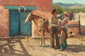 Western, R.S. (RONALD STEPHEN) RIDDICK (American, b. 1952). Line Camp Advice, 1982. Oil on canvas. 24 x 36 inches (61.0 x 91.4 cm...