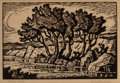 Prints, BIRGER SANDZÉN (American, 1871-1954). Kansas Creek. Woodblock on paper. 6-1/2 x 9-1/2 inches (16.5 x 24.1 cm) (sight). T...