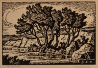 BIRGER SANDZÉN (American, 1871-1954) Kansas Creek Woodblock on paper 6-1/2 x 9-1/2 inches (16.5 x