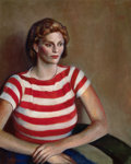 Miscellaneous, GUY PÈNE DU BOIS (American, 1884-1958). Girl in StripedSweater, circa 1938. Oil on canvas. 36 x 29 inches (91.4 x 73.7...