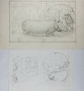 Art:Illustration Art - Mainstream, Garth Williams, illustrator. Two Original Preliminary Pencil Sketches for Proposed Front Covers of Beneath a Blue Umbrel...