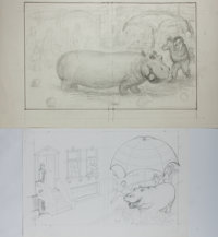 Garth Williams, illustrator. Two Original Preliminary Pencil Sketches for Proposed Front Covers of Beneath a Bl