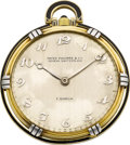 Timepieces:Pocket (post 1900), Patek Philippe Platinum, Gold & Enamel Art Deco Pocket Watch For E. Gübelin, circa 1925. ...