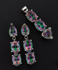 Estate Jewelry:Coin Jewelry and Suites, Mystic Topaz 14k White Gold Earrings & Pendant. ... (Total: 2Items)