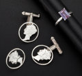 Estate Jewelry:Cameos, Sterling Silver Cufflinks Tie Pin & Amethyst Gold Ring. ...(Total: 3 Items)