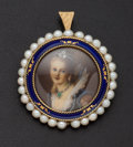 Estate Jewelry:Brooches - Pins, Vintage Cultured Pearl & Enamel Portrait Brooch. ...