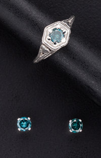 Blue Diamond Ring & Gold Diamond Studs