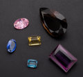 Estate Jewelry:Unmounted Gemstones, Amber Amethyst Pink Tourmaline Citrine Blue Diamond Topaz. ... (Total: 6 Items)