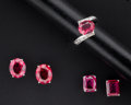 Estate Jewelry:Coin Jewelry and Suites, Two Pairs Of Ruby Earrings & Ruby & Diamond Gold Ring. ...