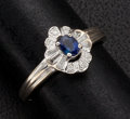 Estate Jewelry:Rings, Blue Sapphire & Diamond Gold Ring. ...