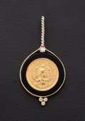 Estate Jewelry:Pendants and Lockets, Onyx & Gold Coin Pendant. ...