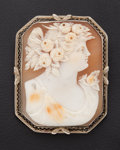 Estate Jewelry:Cameos, Early Shell & Gold Brooch/Pendant Cameo. ...