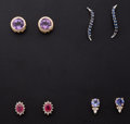 Estate Jewelry:Earrings, Four Pair Of Gemstone Stud Gold Earrings. ... (Total: 4 Items)