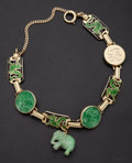 Estate Jewelry:Bracelets, Enamel & Green Jade 14k Gold Bracelet. ...