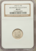 Barber Dimes, 1903-O 10C MS65 NGC. Ex: Richmond Collection. NGC Census: (5/1).PCGS Population (12/3). Mintage: 8,180,000. Numismedia...