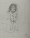 Art:Illustration Art - Mainstream, Garth Williams, illustrator. Lovely, Original Preliminary Pencil Sketch of a Girl Standing in a Stream from Beneath a Bl...