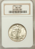 Walking Liberty Half Dollars: , 1942-D 50C MS66 NGC. NGC Census: (865/140). PCGS Population(1108/137). Mintage: 10,973,800. Numismedia Wsl. Price for prob...