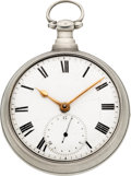 Timepieces:Pocket (pre 1900) , M.I. Tobias & Co. Liverpool Rack Lever Fusee, 15 Seconds Subsidiary, circa 1820. ...