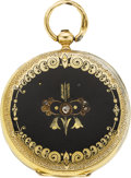 Timepieces:Pocket (pre 1900) , Swiss 18k Gold & Enamel Key Wind, circa 1860. ...