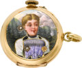 Timepieces:Pendant , Swiss 18k Gold Enameled Pendant Watch. ...