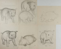 Garth Williams, illustrator. Six Original Preliminary Pencil Sketches of Pigs from Baby Farm Animals. <